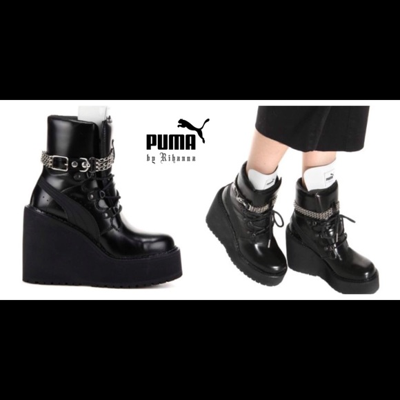Fenty Puma Rihanna Leather Wedge Chain Ankle Boot NWT